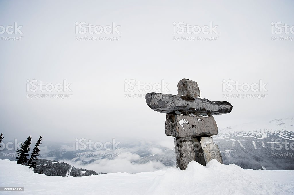 Inukshuk in the Rocky Mountains, British Columbia, Canada stock photo