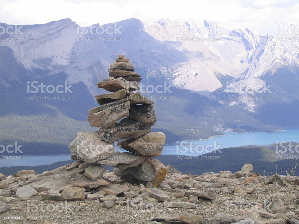 Inukshuk on top of mountain royalty-free stock photo