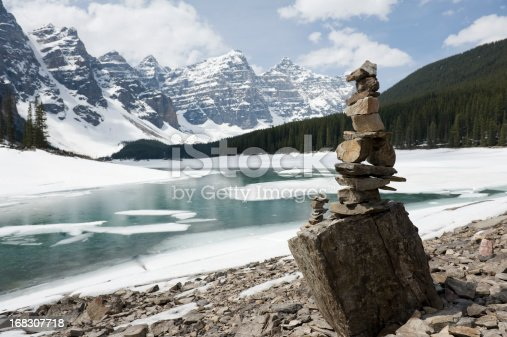 istock Inukshuk, stacked stones at Moraine lake 168307718