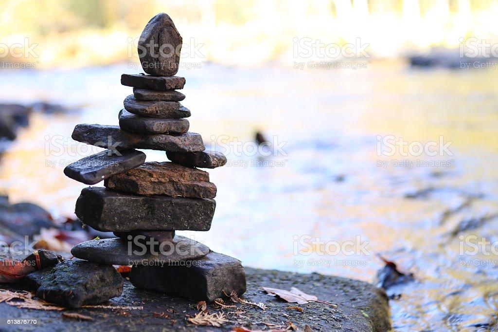 inukshuk statue stock photo