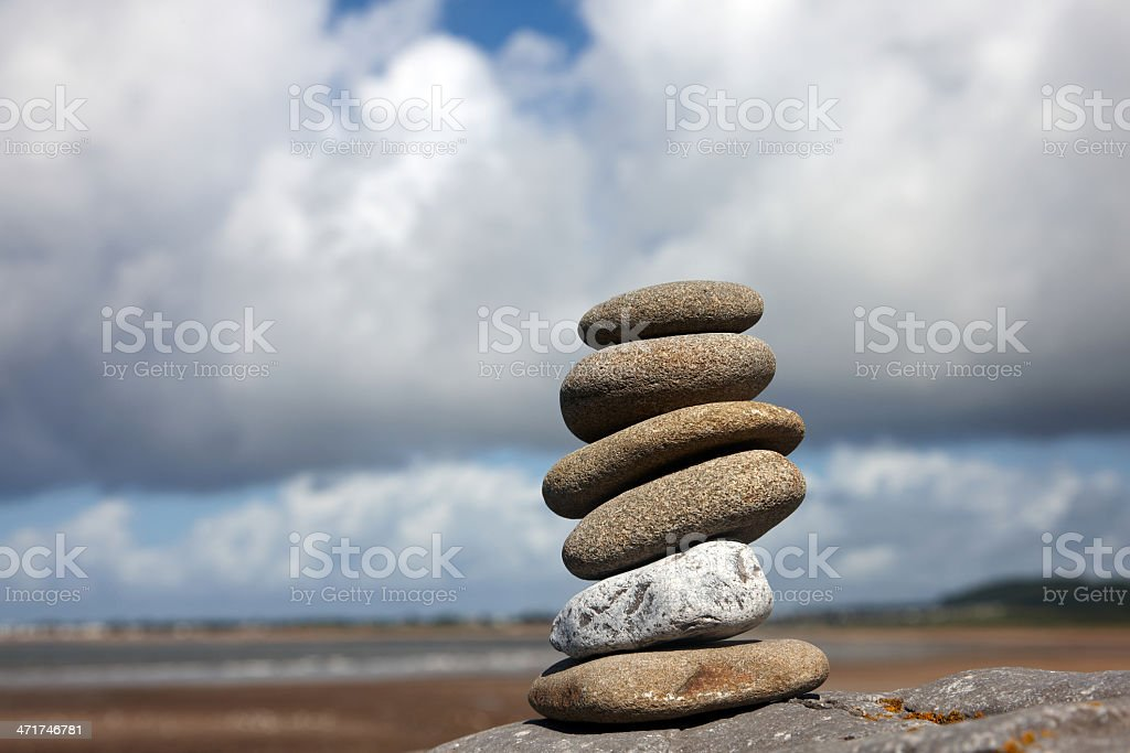 Inuksuk or cairn  pile of pebbles royalty-free stock photo