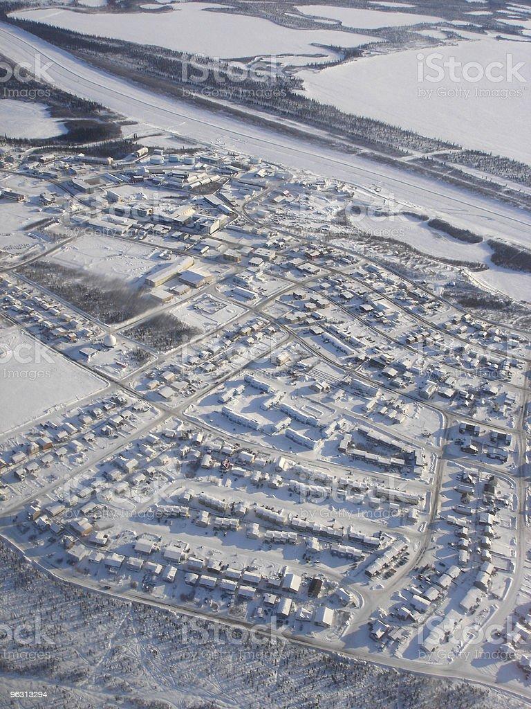 Inuvik Winter Aerial stock photo