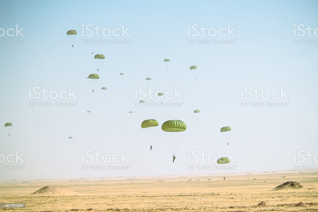 invasion - parachute stock photo