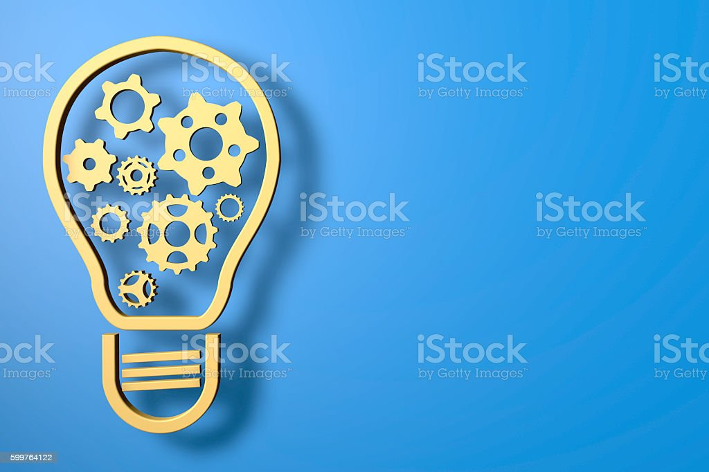 Invention And Innovation - Lightbulb and Gears stock photo