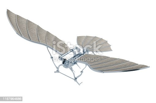 invention of aircraft of Leonardo da Vinci isolated on white. 3d rendering
