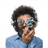 istock Inventor scientist with his old fashioned smart glasses and camera 492335079