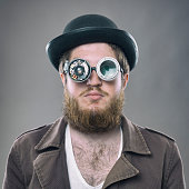 istock Inventor scientist with his old fashioned smart glasses 498462133