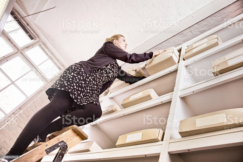 Inventory female worker on top of ladder stock photo