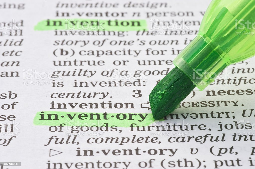 inventory highligted in dictionary royalty-free stock photo