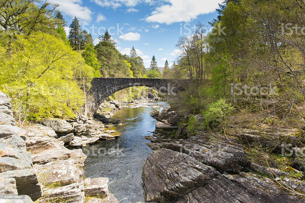 Invermoriston bridge Scotland UK Scottish tourist destination crosses stock photo