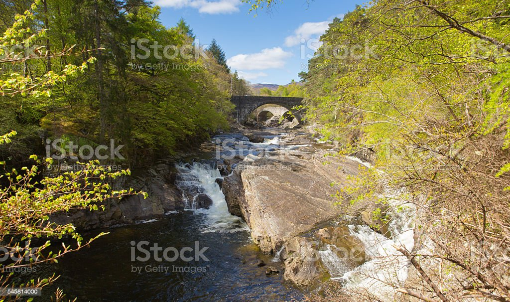 Invermoriston bridges Scotland UK Scottish tourist destination crosses stock photo