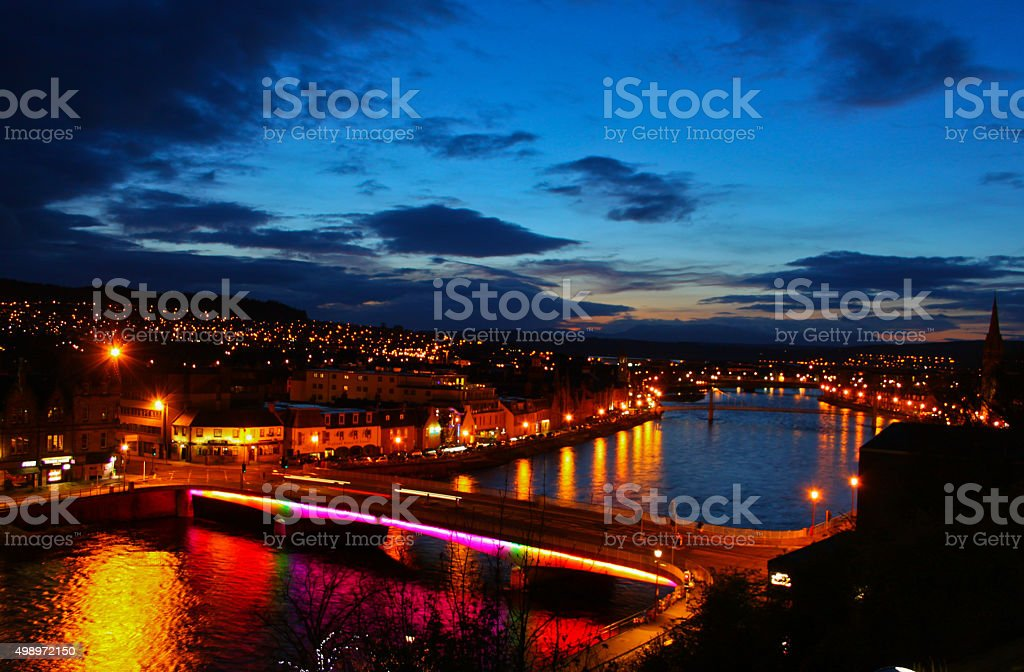 Inverness at night stock photo