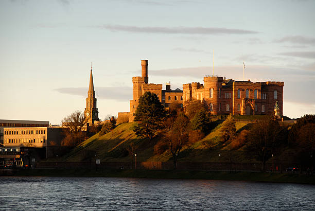 Inverness Castle 2 Winter sunset reflected on Inverness castle, UK. inverness scotland stock pictures, royalty-free photos & images