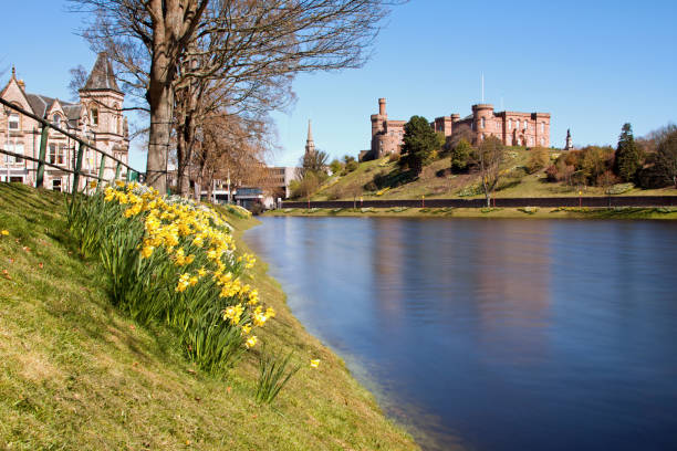 Inverness, Inverness-shire, Scottish Highlands - April 18, 2015: Inverness Castle and River Ness stock photo