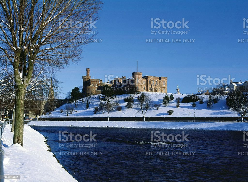 Inverness Castle and River Ness Winter stock photo
