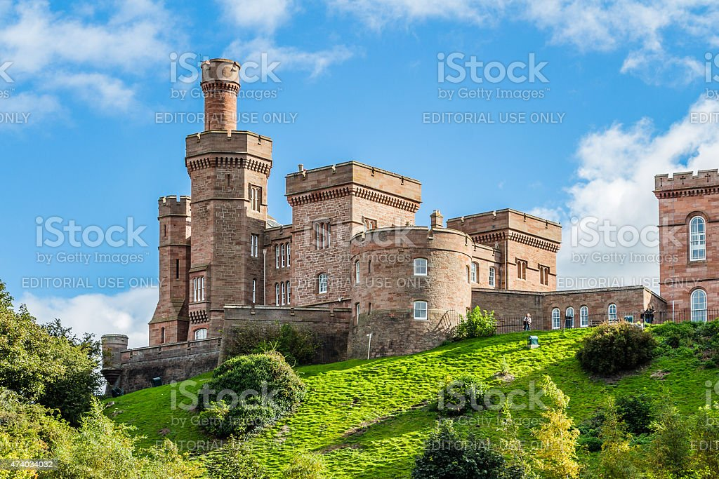 Inverness castle from Ness river stock photo