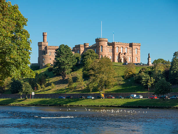 Inverness Castle on the River Ness Scotland stock photo