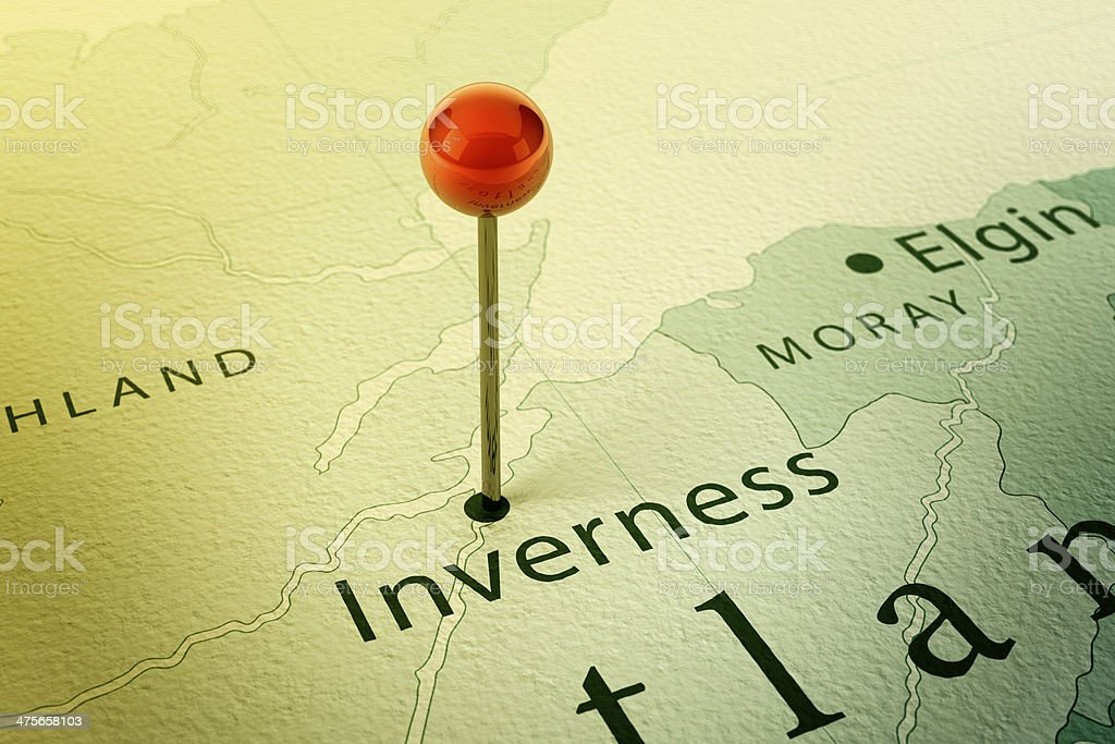 Inverness Map City Straight Pin Vintage stock photo
