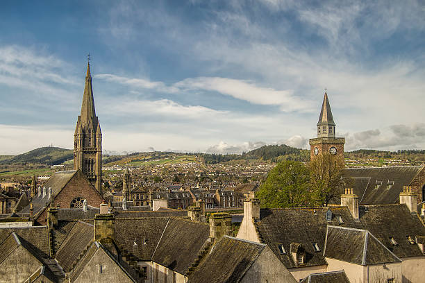 Inverness Aerial view of Inverness in Scotland, Great Britain. inverness scotland stock pictures, royalty-free photos & images