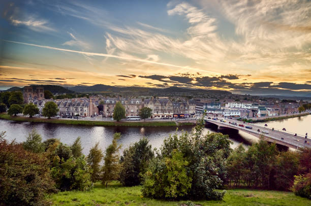 Inverness Scotland Panoramic view over the city of Inverness, Scotland at dawn. inverness scotland stock pictures, royalty-free photos & images