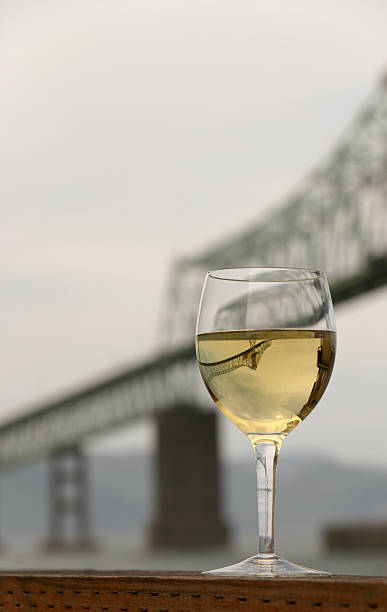 Inverted Astoria Bridge Chardonnay Wine Columbia River Oregon Washington stock photo