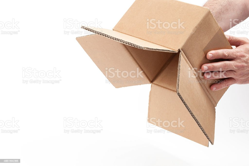 Inverted Empty Box in Hands- With Clipping Path stock photo