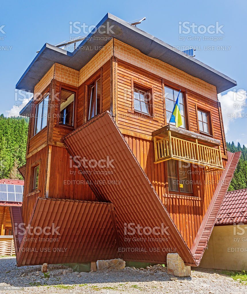 Inverted home in Carpathian stock photo