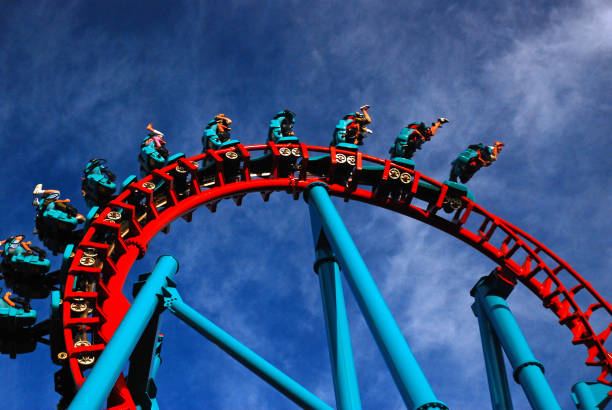 inverted thrill ride - roller coaster stock pictures, royalty-free photos & images