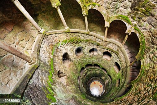 The Inverted Tower (Initiation Well), staircase in Quinta da Regaleira, Sintra, Portugal