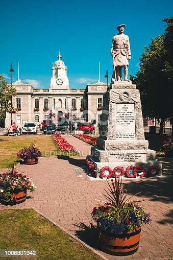 War Memorial set within small municipal garden in the town of Inverurie in Aberdeenshire, Scotland. It sits opposite the Town Hall, both set within Market Square in the centre of town.