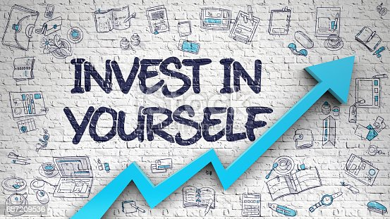 istock Invest In Yourself Drawn on White Brick Wall. 3D 687209536