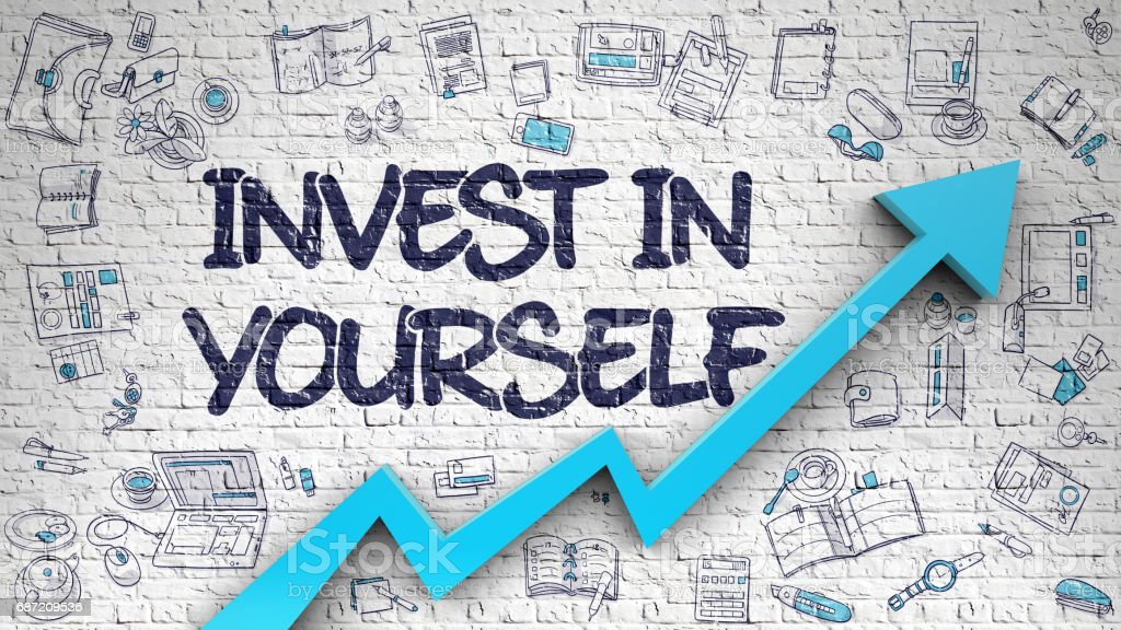 Invest In Yourself Drawn on White Brick Wall. 3D stock photo