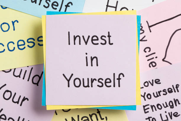 invest in yourself - ladder of success stock photos and pictures