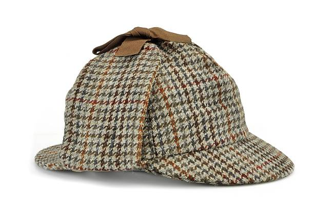 Investigation Concept Hat Famous As  Deerstalker Investigation Concept With  Sherlock Holmes Hat Famous As  Deerstalker Isolated On White Background deerstalker hat stock pictures, royalty-free photos & images