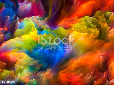 Sounds of Color series. Backdrop design of clumps of digital paint for works on art, illustration and design