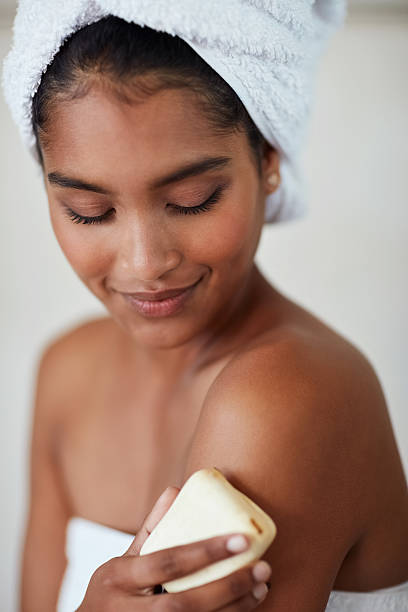 Investing in the health of her skin stock photo