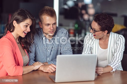 994164766 istock photo Investment adviser giving a presentation to a friendly smiling young couple seated at her desk in the office 1155525759