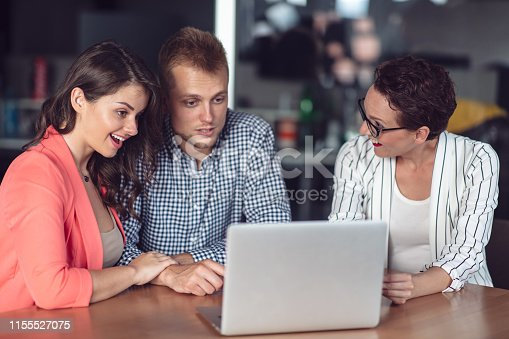 994164766 istock photo Investment adviser giving a presentation to a friendly smiling young couple seated at her desk in the office 1155527075