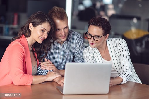 994164766 istock photo Investment adviser giving a presentation to a friendly smiling young couple seated at her desk in the office 1155531714