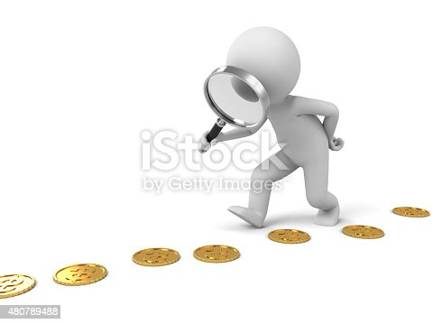 3d people search some coins with magnifier. 3d image. Isolated white background.