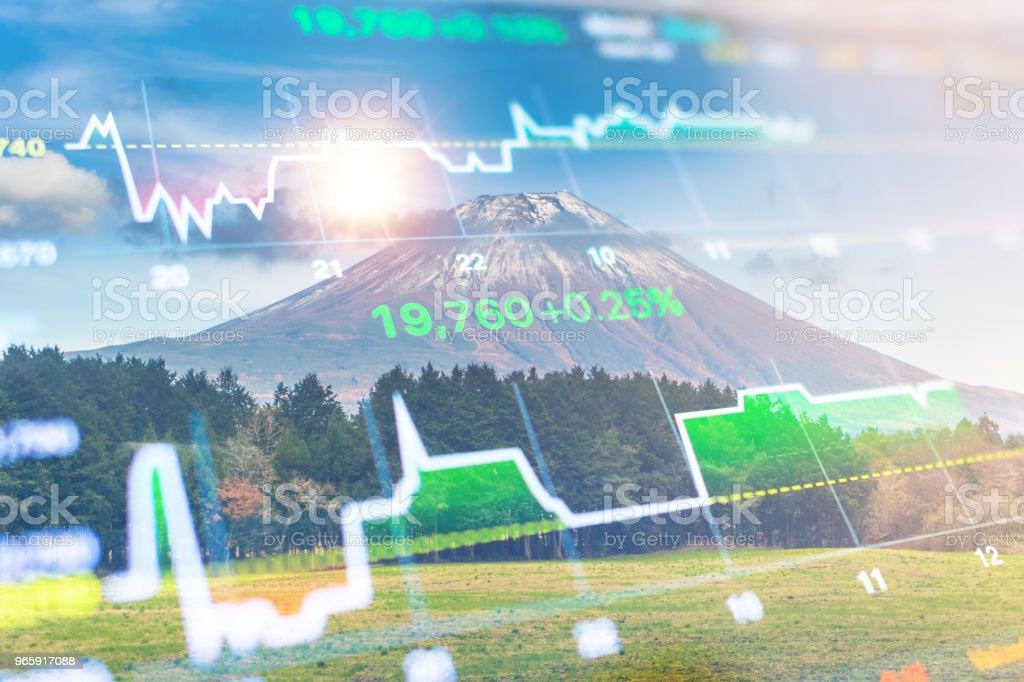 Investment and banking theme with Fuji mountain and Kawaguchiko lake in morning, Autumn seasons Fuji mountain at yamanachi in Japan. - Royalty-free Accountancy Stock Photo
