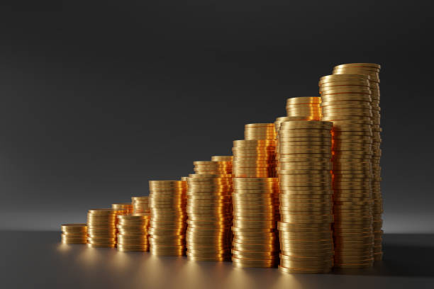 Investment and earnings growth concept. Coins in stacks. 3D rendered illustration. stock photo