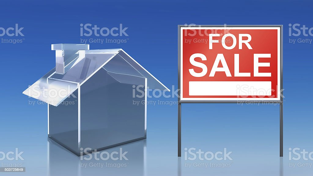 investment blue glass house for sale royalty-free stock photo