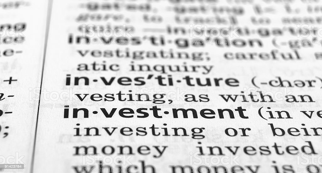 Investment Defined royalty-free stock photo