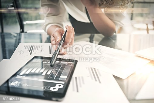 istock Investment department working process.Closeup photo business woman showing reports 522152114
