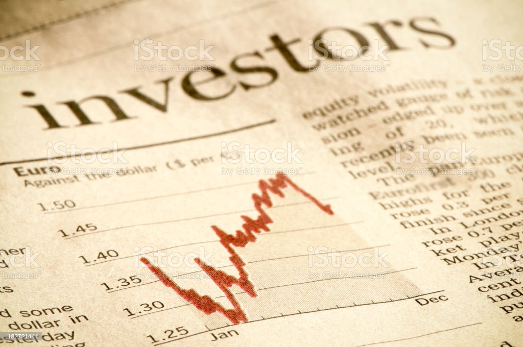 Investment diagram in financial magazine, investors headline, Euro against Dollar royalty-free stock photo