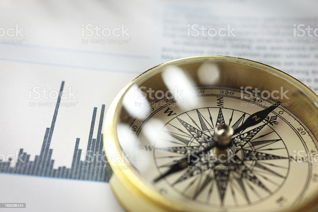 Close-up of a compass on stock market data chart.