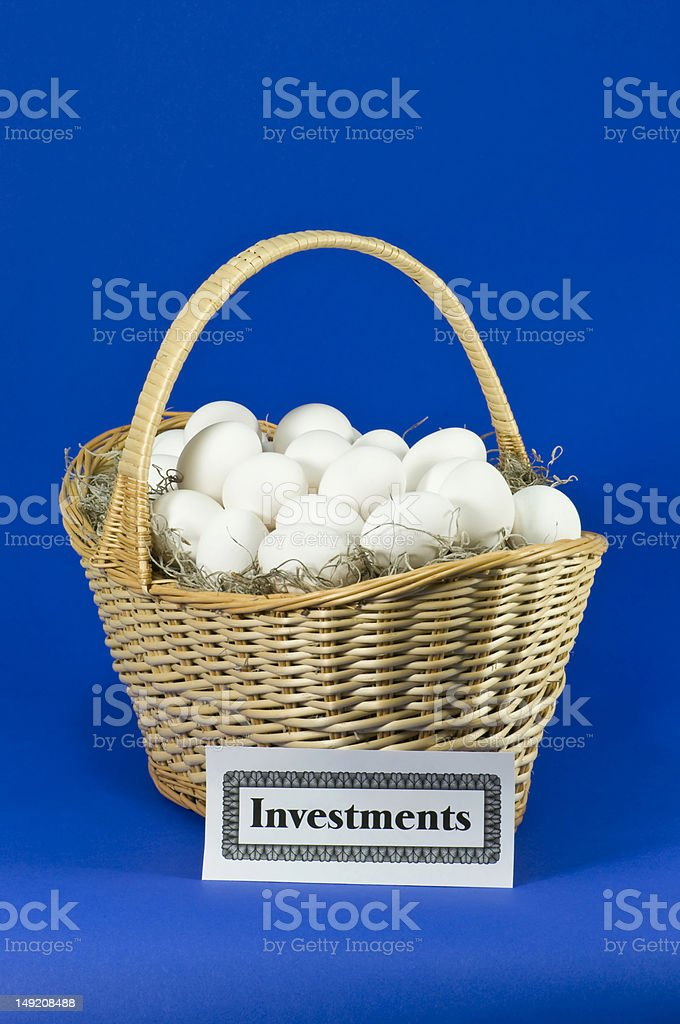 Investment Eggs in a Basket stock photo