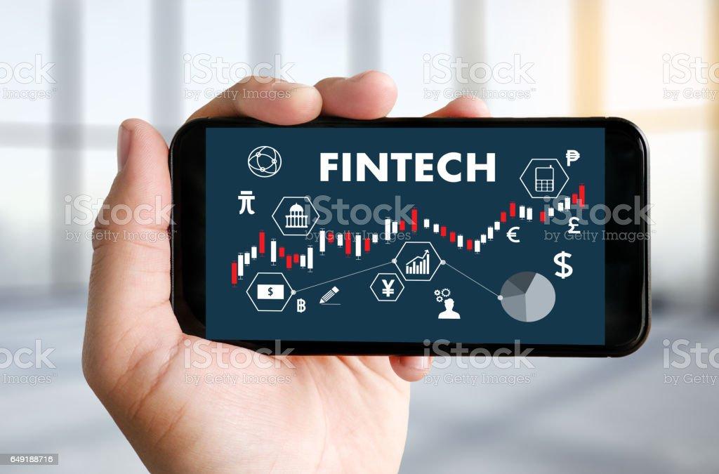 FINTECH finanzielle Internet Technologie Geld Geschäft Anlagewährungen Symbol Lager Diagramm – Foto