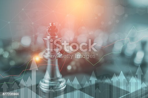 Investment Leadership Concept : The king chess piece with chess others nearby go down from floating board game concept of business ideas and competition and strategy plan success meaning,